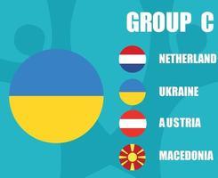 europees voetbal 2020 teams.group c oekraïne vlag.europese voetbalfinale vector