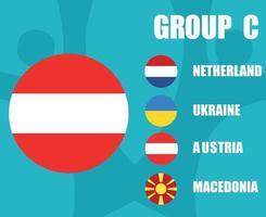europees voetbal 2020 teams.group c oostenrijk flag.european football finale vector