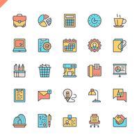 Vlakke lijn office-pictogrammen instellen voor website en mobiele site en apps. Overzicht iconen ontwerp. 48x48 Pixel Perfect. Lineair pictogrampakket. Vector illustratie.