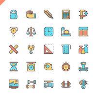 Vlakke lijn meten, meten elementen pictogrammen instellen voor website en mobiele site en apps. Overzicht iconen ontwerp. 48x48 Pixel Perfect. Lineair pictogrampakket. Vector illustratie.