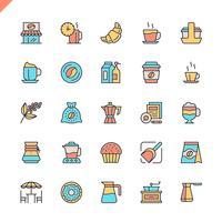 Vlakke lijn koffie, koffiehuis, coffeeshop elementen pictogrammen instellen voor website en mobiele site en apps. Overzicht iconen ontwerp. 48x48 Pixel Perfect. Lineair pictogrampakket. Vector illustratie.