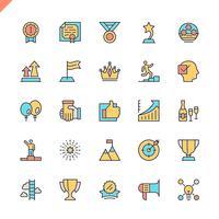 Flat line sussess, awards, prestatie-elementen pictogrammen instellen voor website en mobiele site en apps. Overzicht iconen ontwerp. 48x48 Pixel Perfect. Lineair pictogrampakket. Vector illustratie.