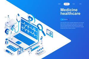 Geneeskunde en gezondheidszorg moderne platte ontwerp isometrische concept. Apotheek en mensen concept. Bestemmingspaginasjabloon. Conceptuele isometrische vectorillustratie voor web- en grafisch ontwerp.