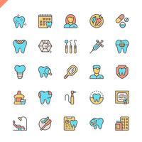 Platte lijn tandheelkundige pictogrammen instellen voor website en mobiele site en apps. Overzicht iconen ontwerp. 48x48 Pixel Perfect. Lineair pictogrampakket. Vector illustratie.