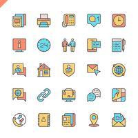 Platte lijn contact met ons pictogrammen instellen voor website en mobiele site en apps. Overzicht iconen ontwerp. 48x48 Pixel Perfect. Lineair pictogrampakket. Vector illustratie.
