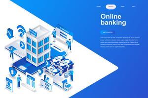 Online bankieren moderne platte ontwerp isometrische concept. Elektronisch bank en mensenconcept. Bestemmingspaginasjabloon. Conceptuele isometrische vectorillustratie voor web- en grafisch ontwerp.