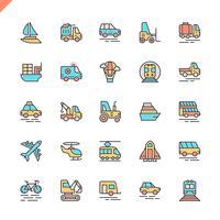 Platte lijn transport, voertuig en levering elementen pictogrammen instellen voor website en mobiele site en apps. Overzicht iconen ontwerp. 48x48 Pixel Perfect. Lineair pictogrampakket. Vector illustratie.