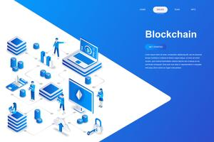 Blockchain moderne platte ontwerp isometrische concept. Cryptocurrency en mensenconcept. Bestemmingspaginasjabloon. Conceptuele isometrische vectorillustratie voor web- en grafisch ontwerp. vector
