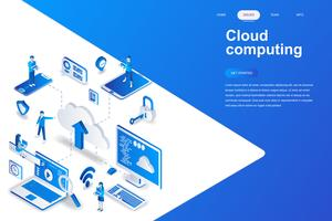 Cloud computing moderne platte ontwerp isometrische concept. Bedrijfstechnologie en mensenconcept. Bestemmingspaginasjabloon. Conceptuele isometrische vectorillustratie voor web- en grafisch ontwerp. vector