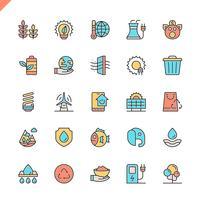 Platte lijn ecologie pictogrammen instellen voor website en mobiele site en apps. Overzicht iconen ontwerp. 48x48 Pixel Perfect. Lineair pictogrampakket. Vector illustratie.