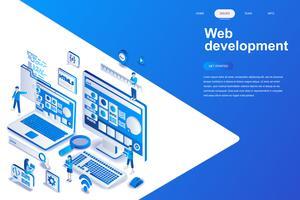 Web ontwikkeling moderne platte ontwerp isometrische concept. Ontwikkelaar en mensenconcept. Bestemmingspaginasjabloon. Conceptuele isometrische vectorillustratie voor web- en grafisch ontwerp.