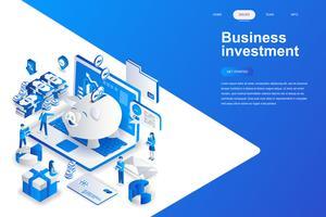 Isometrisch concept bedrijfsinvesteringen moderne platte ontwerp. Geld en mensen concept. Bestemmingspaginasjabloon. Conceptuele isometrische vectorillustratie voor web- en grafisch ontwerp. vector