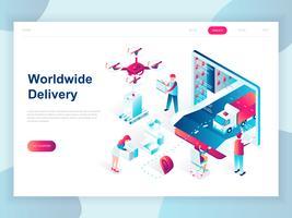 Modern plat ontwerp isometrische concept van wereldwijde levering voor banner en website. Isometrische sjabloon voor bestemmingspagina's. Magazijn, vrachtwagen, vorkheftruck, koerier, drone en bezorger. Vector illustratie.