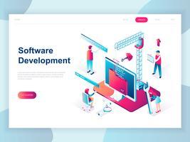 Modern vlak ontwerp isometrisch concept van Softwareontwikkeling voor banner en website. Isometrische sjabloon voor bestemmingspagina's. Ontwikkeling van programmeer- en codeertechnologieën. Vector illustratie.