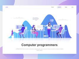 Computer programmeurs moderne platte ontwerpconcept. Bestemmingspaginasjabloon. Moderne platte vector illustratie concepten voor webpagina's, website en mobiele website. Gemakkelijk te bewerken en aan te passen.