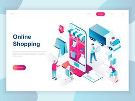 Modern plat ontwerp isometrisch concept van online winkelen voor banner en website. Isometrische sjabloon voor bestemmingspagina's. E-commercemarkt, winkelbetaling of klantenondersteuning. Vector illustratie.