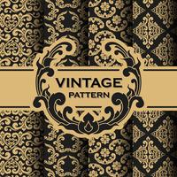 Set van vintage bloeit wijnstok naadloze patroon achtergrond
