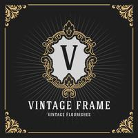 Vintage luxe monogram Banner sjabloonontwerp vector