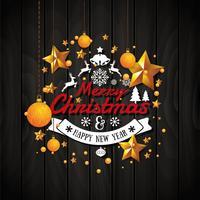 Kerstmis en gelukkig Nieuwjaar illustratie met typografie