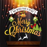 Kerstmis en gelukkig Nieuwjaar illustratie met typografie en FA