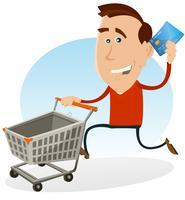 Gelukkige man winkelen met credit card vector