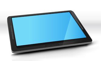 Tablet-pc met blauw scherm vector