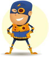 Komische superheld met gouden wapenrusting