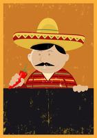 Menu van de Chef-kok van Grunge het Mexicaanse vector