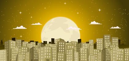 Gebouwen Achtergrond In Een Gouden Maanlicht vector