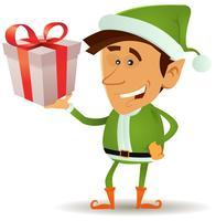 Kerstmis elf geschenk houden vector