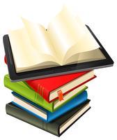 Tablet-pc op een stapel boeken vector