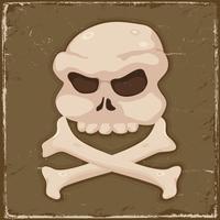 Vintage schedel en kruis botten