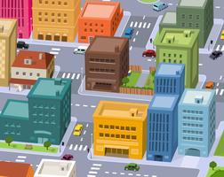 cartoon stad - downtown scène vector