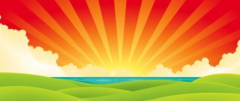 Zonsondergang boven water vector