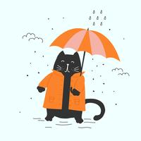 Kat in herfst Vector