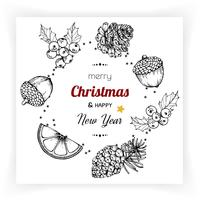 Kerstmis en Nieuwjaar achtergronden en wenskaart vector