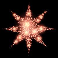 Vier-puntige decoratie van ster abstracte Kerstmis op zwart