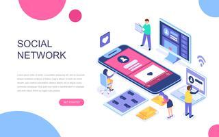 Modern plat ontwerp isometrisch concept van sociaal netwerk