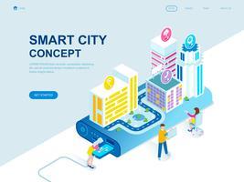 Modern vlak ontwerp isometrisch concept van Smart City-technologie vector