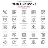 Dunne lijn webontwerp en ontwikkeling pictogrammen instellen vector