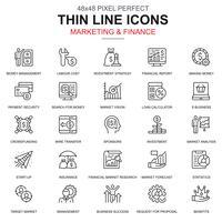 Dunne lijnmarketing en financiën geplaatste pictogrammen vector