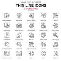 Dunne lijn online winkelen en e-commerce pictogrammen instellen