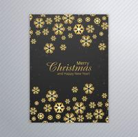 Vrolijke Kerstmiskaart met het ontwerpvector van de sneeuwvlokbrochure vector