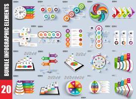 Gegevensvisualisatie van infographic elementen bundelen vector