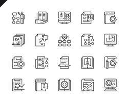 Eenvoudige set van technische documentatie gerelateerde vector lijn pictogrammen