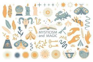 set van magische symbolen, esoterische heks tatoeages. collectie van wassende maan, zon met gezicht, handen, planten, magische bal en sterren, kristallen. vector platte mystieke vintage illustratie. boho ontwerp voor kaart