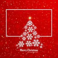 Kaart van het de kaartontwerp van de sneeuwvlokboom de vrolijke Kerstmis vector