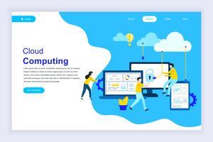 Modern plat ontwerpconcept van cloud-technologie vector