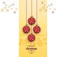 Vrolijke Kerstmiskaart met decoratieve balvector als achtergrond