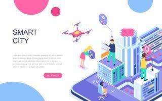 Modern vlak ontwerp isometrisch concept van Smart City vector